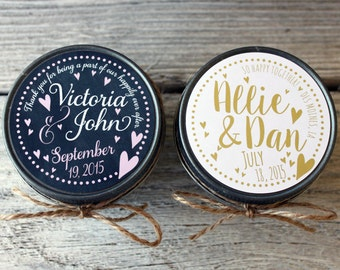 Set of 96 - 4 oz Candle Wedding Favor - Soy - Personalized Wedding Favors // Chalkboard Floating Hearts Wedding Favors