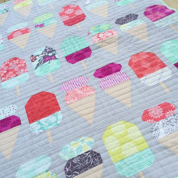 pdf pattern for scooped cot crib patchwork quilt ice cream gelato handmade quilt for nursery child bedroom by missymackcreations