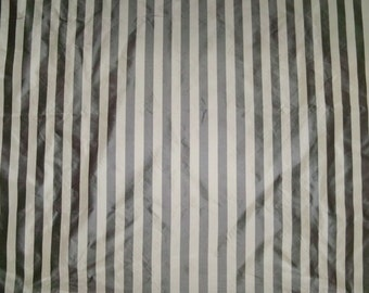 SCALAMANDRE BARANZELLI PENELOPE Stripes Silk Taffeta Fabric 10 Yards Taupe Charcoal / Cream
