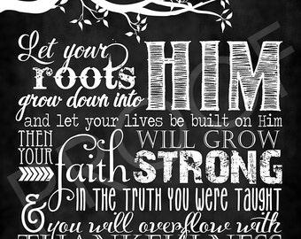 Scripture Art - Colossians 2:7 ~ Chalkboard Style