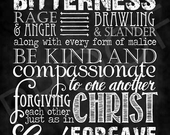 Scripture Art - Ephesians 4:31-32 ~ Chalkboard Style