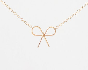 The Knot Necklace  (Handmade 14k gold filled bow)