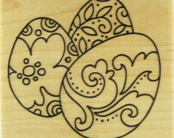 Decorated Eggs Rubber Stamp by Stampendous - Q150