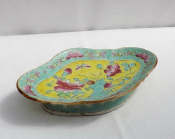 Antique Chinese Famille Rose Porcelain Pedestal Dish - Enameled Hand Painted Footed Oval Trinket Soap Dish -  Turquoise Yellow Butterfly