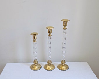 Matching Graduated Set of 3 Twisted Lucite and Brass Mid Century Candlestick Holders - Modern Hollywood Regency Fine Home Decor Accessory