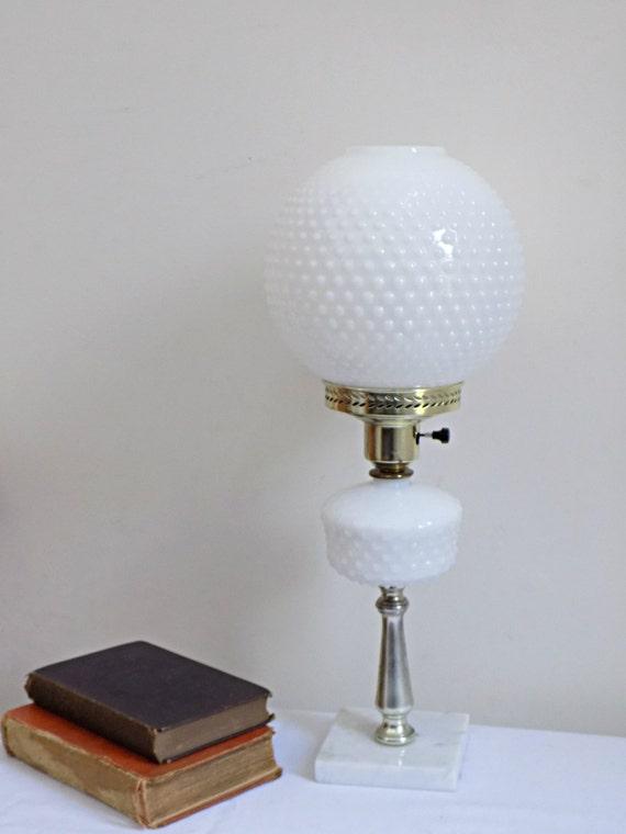 Vintage White Milk Glass Hobnail Globe Parlor Lamp Marble Base