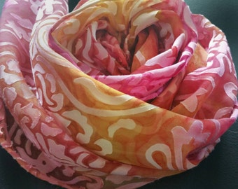 Women's Luxury Silk Scarf in gold and rose,one-of-a-kind,scarves for women,gifts for her,travel accessories,michelemorganart,easter, for Mom