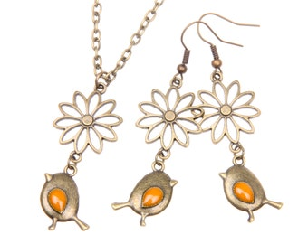 Set Necklace Earrings little birds