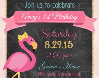 Chalkboard Flamingo Pool Party Birthday Invitation - Printable File