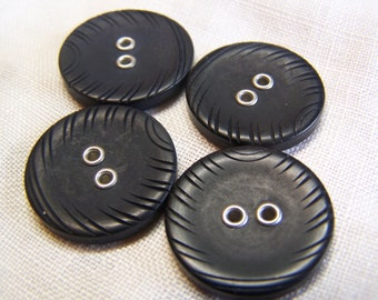 """Vintage 7/8"""" Black Carved Buttons, Set of 4 (1430)"""