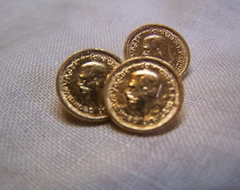 "Vintage 1/2"" Gold Tone George IV Coin Buttons, Set of 3 (no.1700)"