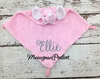 Ellie - Already Personalized - Pink Elephant Blankie Cuddle Buddie