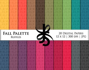 Digital Scrapbook Papers-Fall Palette Ruffles-Frilly Patterns-Frills-Fabric Backgrounds-Fall Clipart-Wallpapers-Instant Download Clip Art