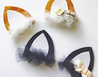 Animal Hair Felt Hair Clips or Headband - Fox and Kitty cat - Halloween Costume