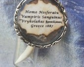 """Greek Vampire tooth in a bottle necklace with collection date and info in attached pendant - """"Vrykolakas"""" 1887 Greece"""