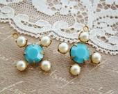 Vintage Swarovski Rhinestone Flower Cross Drops Pendant Turquoise & Vintage Pearl Brass or Silver Ox Settings - 2