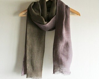 Natural (Galls of Japanese sumac / Bayberry) dyed double faced Linen scarf