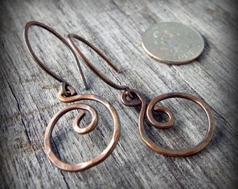 Simple Hammered Copper Hoop Dangle Earrings Hand Forged