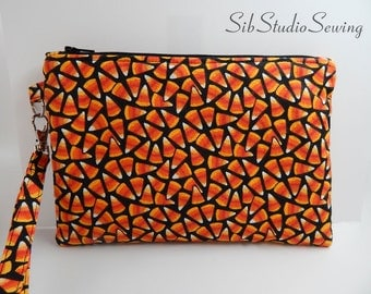 "Candy Corn Clutch, 8.75 x 6 inches,Fits iPhone 6 Plus,Smartphone and Tablets up to 6.75"" Length, Padded and Fully Lined,Large Phone Wristlet"