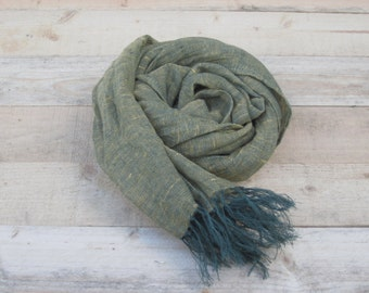 Green linen scarf, scarf with knot fringe, linen scarves, scarf linen, linen shawl, pure linen scarf, women scarf, men scarf