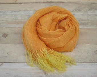 Orange linen scarf, scarf with knot fringe, linen scarves, scarf linen, linen shawl, pure linen scarf, women scarf, men scarf