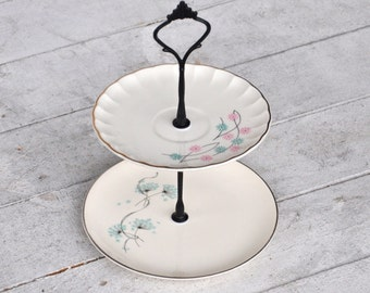 """Cookie Plate """"Puff"""" 2 Tier  Mini Cake Stand, Pastry Stand, Dessert Display Pink Aqua Black, Jewelry Holder, Vintage China Stand"""