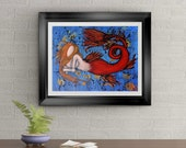 Mermaid Found Signed Art Print of Original Sold Painting By Rafi Perez