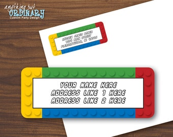 EDITABLE Building Blocks Address Labels, Avery Compatible Return Address and Mailing Labels, INSTANT DOWNLOAD, digital printable file