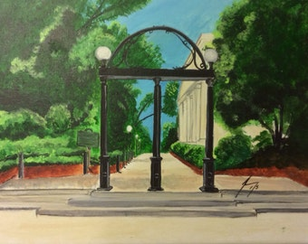 University of Georgia Arch  - Framed  8 x 10 Original Painting - Last day at this SALE price