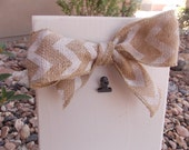 Shabby Chic picture stand with Cheveron burlap bow