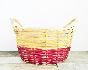 Vintage Painted Basket - Upcycled - Burgundy Marsala - Large Basket - Home Organization
