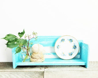 Rustic Turquoise Shelf - Cottage Chic - Vintage Upcycled - Storage Organization