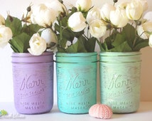 Dorm Decor - Pastel Glam - Home or Office Decor - Painted Mason Jar - Pencil Holder - Vase