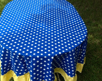 """60 """"Cookie Moster Royal Blue with With White Polka Dots and Yellow Ruffle Round Table Cloth"""