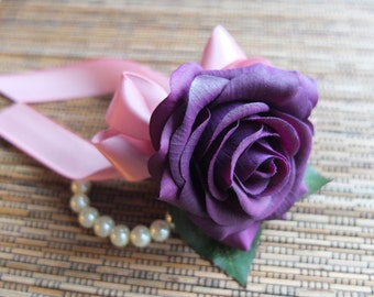 Wrist Corsage, Purple Rose with Pink ribbon on pearl bracelet