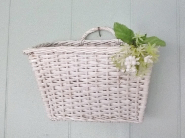 White wicker hanging wall storage basket small bike basket