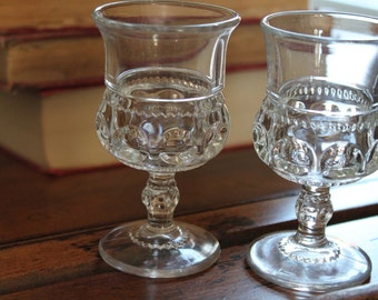 Two  U.S. Glass' / Tiffin King's Crown Thumb Clear Wine Glasses