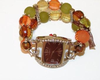 Autumn Beaded Interchangeable Watch-Beaded Bracelet Watch-BeadsnTime-Orange Green and Brown Beaded Watch-Teacher Watch-Brown Watch Face