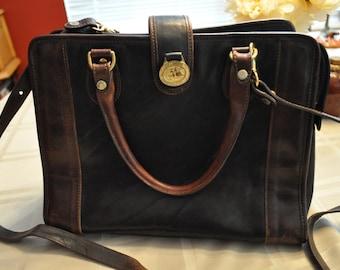 Brahmin vintage black and brown leather satchel with shoulder strap