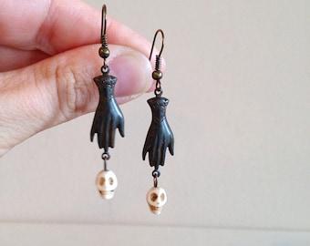 Steampunk Skull Palmistry Earrings