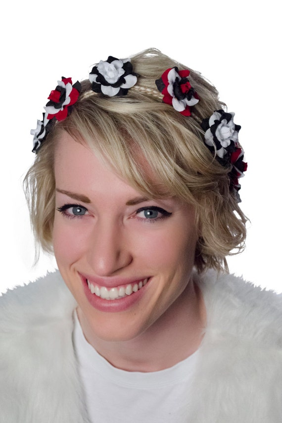 Black/White Red/Black Flower Crown Headband Hippie by RaveNation