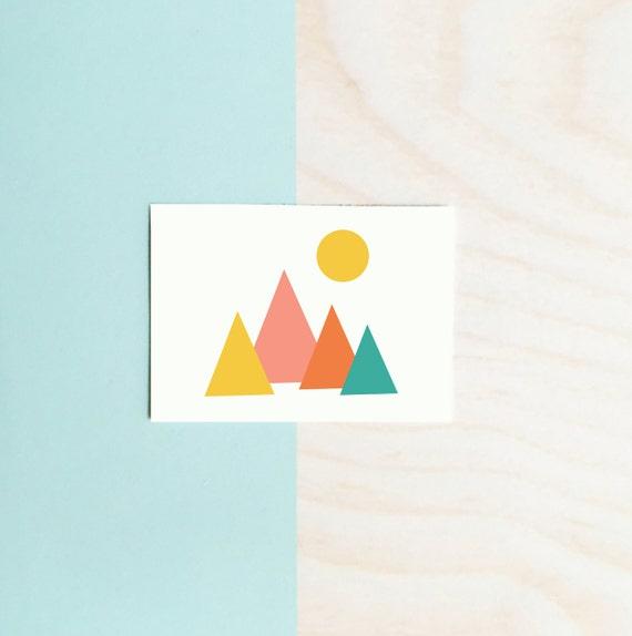 PLACES    Mod Mountains Poster : Modern Illustration Retro Art Wall Decor Print