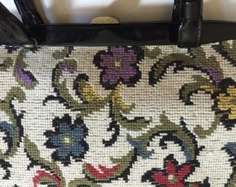 1950s Floral Carpet Bag Purse Vintage Handbag