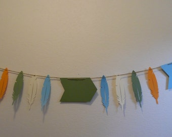 Tribal Banner- Tribal Baby Shower Banner - Tribal Birthday Banner- Tribal Feather and Arrow Banner