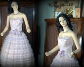 1950s vintage prom dress netting tulle lace oh my lavender pink long cupcake