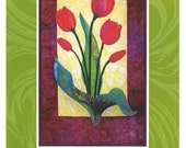 Zebra Tulip Quilt DIY Kit Wallhanging Pre-cut and Pre-fused Applique Shapes Pattern Included