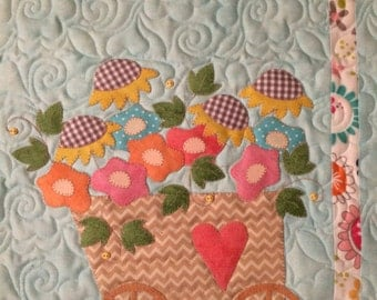 DIY Flower Cart Quilt Kit Laser Cut Applique Mini Quilt Stitches of Love
