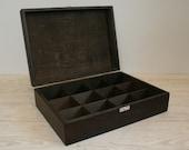 12 Compartments Wooden Tea Box / Dark Brown Box / Personalized