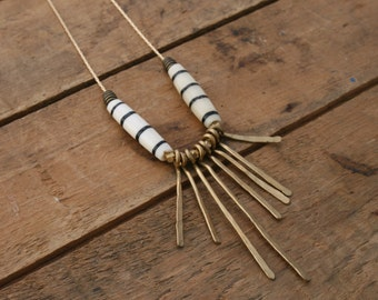 metis // batik hairpipe and fringe necklace, minimalist necklace, brass fringe, statement necklace, gifts under 50, gift for her