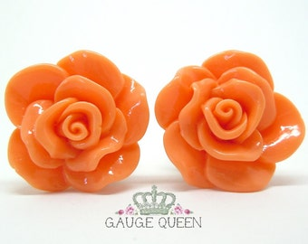"""Coral Rose Plugs / Gauges. 4g / 5mm, 2g / 6.5mm, 0g / 8mm, 00g / 10mm, 1/2"""" / 12mm, 9/16"""" / 14mm by Gauge Queen on Etsy"""
